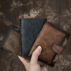 Handmade Leather Brown Men's Zipper Small billfold Wallet Bifold Wallet Card Wallet For Men