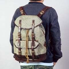 Handmade Leather Canvas Mens Cool Backpack Large Travel Bag Hiking Bag for Men