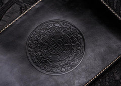 Handmade Leather Carp Tooled Wristlet Bag iPad Bags Mens Cool Leather Long Clutch for Men
