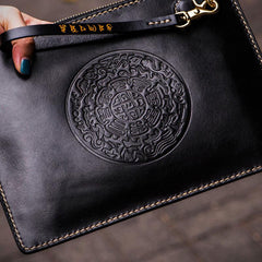 Handmade Leather Carp Tooled Wristlet Bag iPad Bag Mens Cool Leather Long Clutches for Men