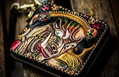 Handmade Leather Chain Wallet Tooled Mahākāla Biker Wallet Mens Cool Short Trucker Wallet with Chain