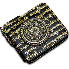 Handmade Leather Chain Wallet Tooled Tibetan Biker Wallet Mens Cool Short Trucker Wallet with Chain