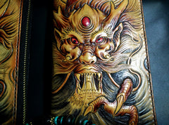 Handmade Leather Chinese Dragon Zipper Mens Long Wallet Clutch Cool Leather Wallet Long Tooled Wallets for Men