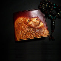 Handmade Leather Lion Tooled Mens Short Wallet Cool Leather Wallet Slim Wallet for Men