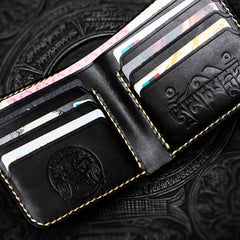 Handmade Leather Mahākāla Tooled Mens Short Wallet Cool Leather Wallets Slim Wallet for Men