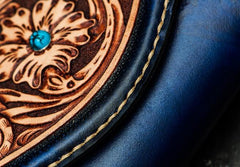 Handmade Leather Men Tooled Blue Floral Cool Leather Wallet Long Phone Clutch Wallets for Men