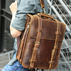 Handmade Leather Mens Backpack Travel Backpack Laptop Backpack for men