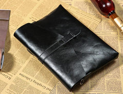 Handmade Leather Mens Clutch Cool Slim Wallet Zipper Clutch Wristlet Bag Wallet for Men
