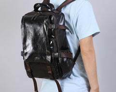 Handmade Leather Mens Cool Black Backpack Large Travel Bag Hiking Bag for Men