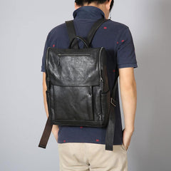 Handmade Leather Mens Vintage Black Cool Backpack Large Travel Bag Hiking Bag for Men