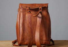 Handmade Leather Mens Vinateg Brown Cool Backpack Large Travel Bag Hiking Bag for Men