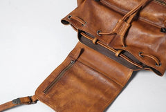 Handmade Leather Mens Cool Vintage Black Brown Backpack Large Travel Bag Hiking Bag for Men