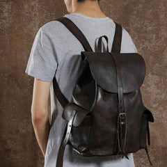 Handmade Leather Mens Cool Vintage Coffee Black Backpack Large Travel Bag Hiking Bag for Men