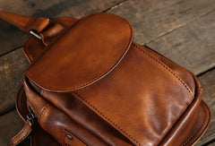 Handmade Leather Mens Cool Chest Bag Sling Bag Crossbody Bag Hiking Bag for men