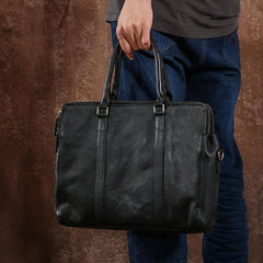 Handmade Leather Mens Cool Vintage Black Briefcase Work Bag Business Bag Laptop Bag for men