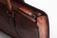 Handmade Leather Mens Cool Vintage Briefcase Work Bag Business Bag Laptop Bag for men