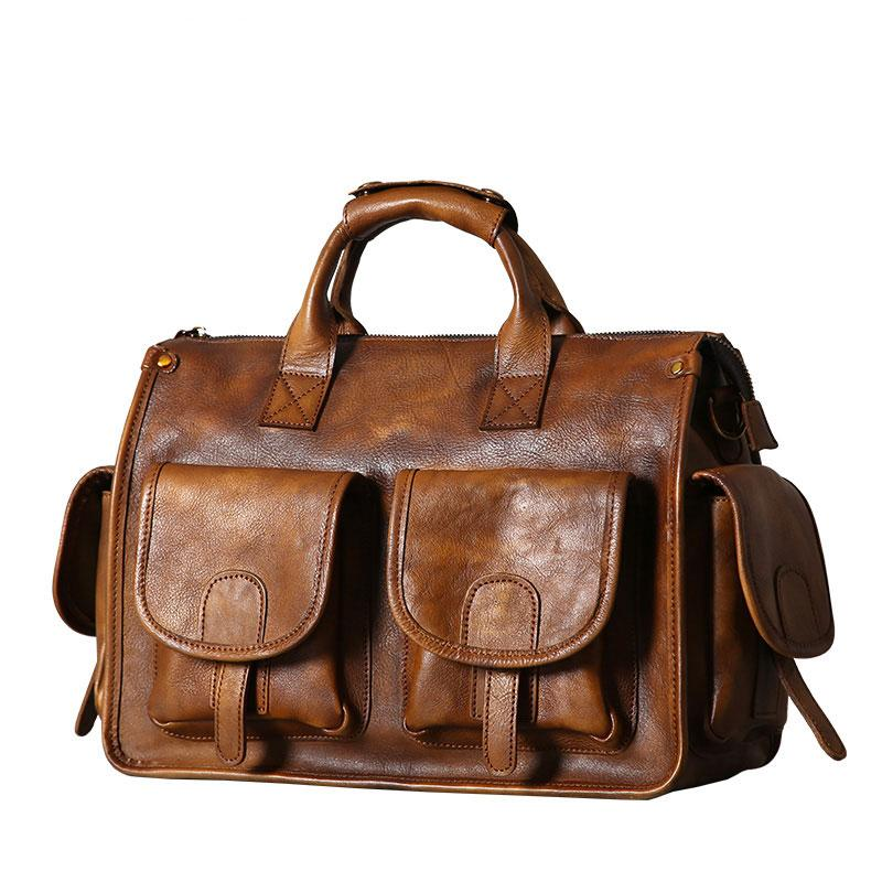 a434980e240 Handmade Leather Mens Cool Messenger Bag Briefcase Work Bag Business Bag  Laptop Bag for men