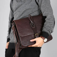 Handmade Leather Mens Cool Shoulder Bag Messenger Bag Bike Bag Cycling Bag for men
