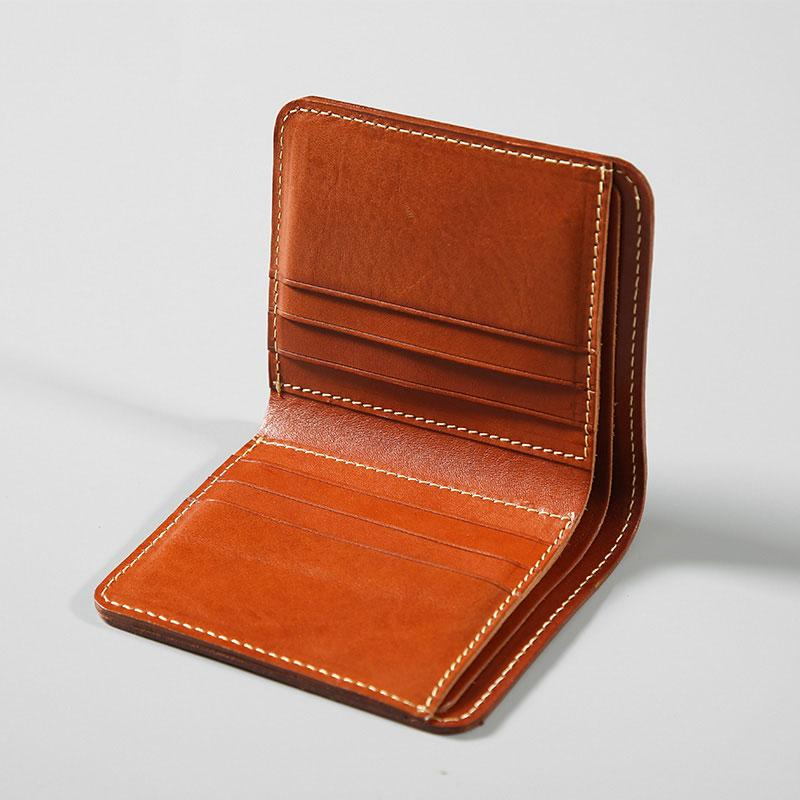 3899d63e9dbfd Handmade Leather Mens Slim Cool Short Leather Wallet Men Small ...