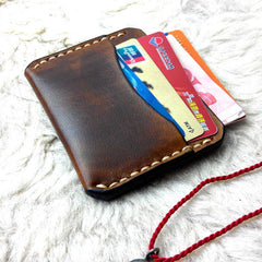 Handmade Leather Mens Slim Front Pocket Wallets Leather Card Wallets for Men