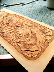 Handmade Leather Short Tooled Skull Biker Wallet Mens Wallet With Chain Wallet Biker Wallet for Men
