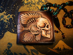 Handmade Leather Skull Fish Tooled Mens Short Wallet Cool Leather Wallet Slim Wallet for Men