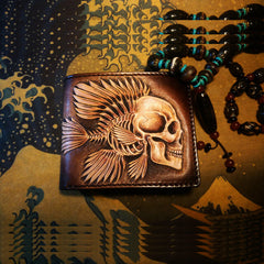 Handmade Leather Praying Tooled Mens Short Wallet Cool Leather Wallet Slim Wallet for Men