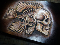 Handmade Leather Skull Tooled Mens billfold Wallet Cool Leather Wallet Slim Wallet for Men