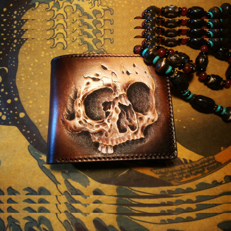 Handmade Leather Skull Fish Tooled Mens billfold Wallet Cool Leather Wallet Slim Wallet for Men