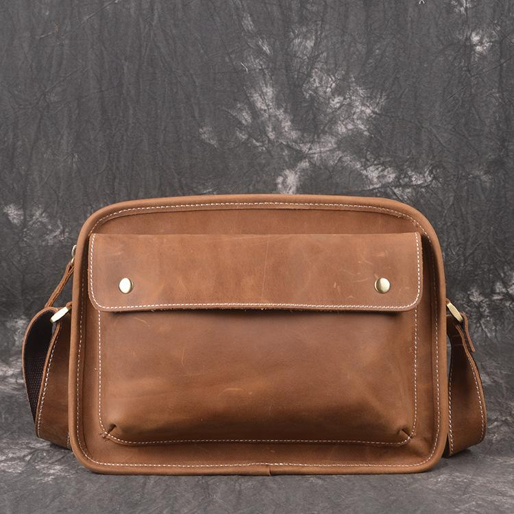 Cool Leather Mens Small Messenger Bag Side Bag Small Shoulder Bag For Men
