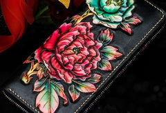 Handmade Leather Tooled Black Peony Cool Leather Wallet Zipper Long Phone Clutch Wallets for Women