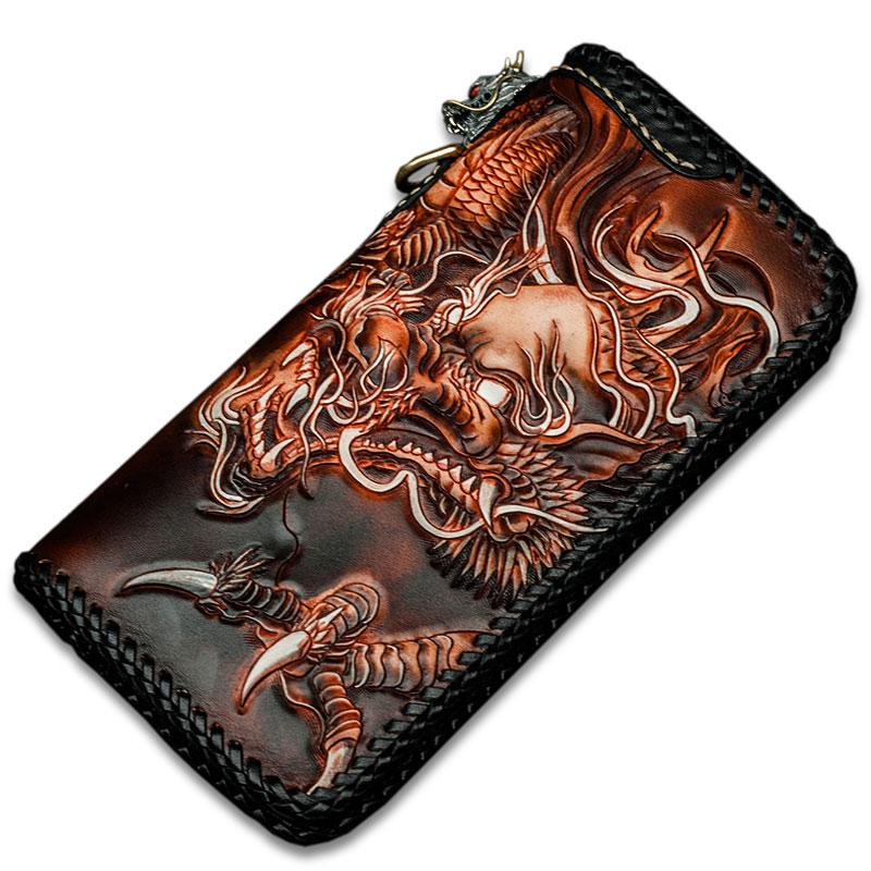Cool Leather Tooled Chinese Dragon Chain Wallet Mens Biker ...
