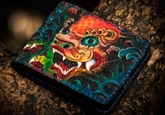 Handmade Leather Tooled Chinese Lion Mens Short Wallet Cool Slim Wallet for Men