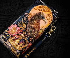 Handmade Leather Tooled Toad Chain Wallet Mens Biker Wallet Cool Leather Wallet Long Phone Wallets for Men
