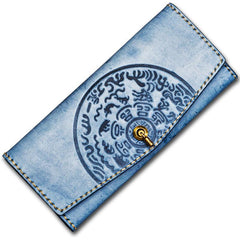 Handmade Leather Tooled Gray Women Envelope Vintage Leather Wallet Long Phone Clutch Wallets for Women