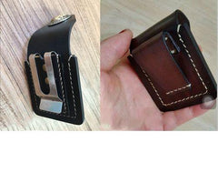 Black Leather Mens Classic Zippo Lighter Case Cool Handmade Standard Zippo Lighter Holder for Men