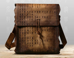 Handmade Vintage Leather Mens Cool Shoulder Bag Messenger Bag Chest Bag Bike Bag Cycling Bag for men