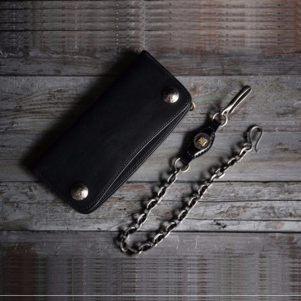 Handmade leather biker trucker wallet leather chain men Cool Black long wallet