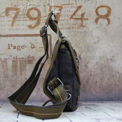 Canvas Black Mens Chest Bag Green Sling Bag Canvas Sling Backpack For Men