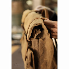 Khaki Oiled Wax Canvas Mens Rollup Backpack Travel Backpack Hiking Backpack Outdoor Backpack For Men