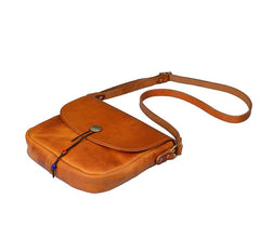 Tan Casual Handmade Mens 8 inches Small Side Bag Messenger Bag Coffee Courier Bag For Men