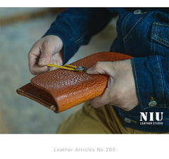 Tan Cool Leather Mens Long Wallet Brown Clutch Wallet Vintage Large Long Wallet Purse For Men
