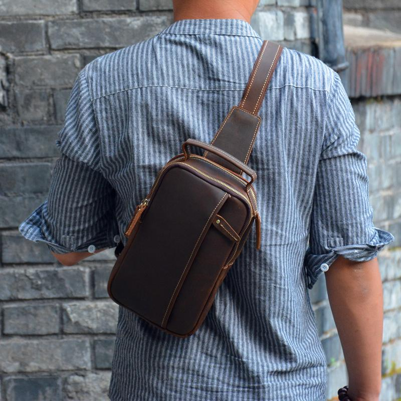 COOL LEATHER MENS CHEST BAG SLING BAG CROSSBODY Backpacks FOR MEN