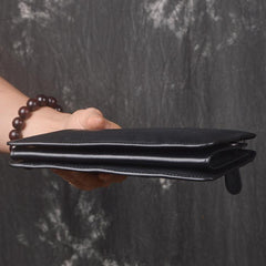 Black LEATHER MENS Wristlet Wallet Zipper Black Clutch Bag FOR MEN