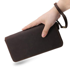 Brown Vintage LEATHER MENS Wristlet Wallet Zipper Clutch Wallet FOR MEN