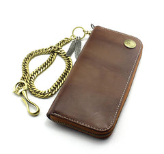 Badass Coffee Leather Men's Long Wallet with Chain Biker Chain Wallet Chain Wallet For Men