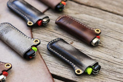 Leather Bic Lighter Cases Leather Cricket Lighter Holder with strap Leather Lighter Covers For Men