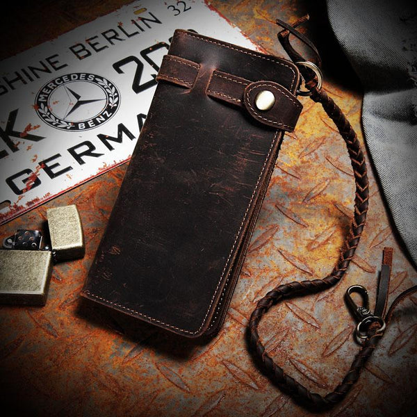 Leather Mens Bifold Long Biker Wallets Biker Chain Wallet Long Trucker Wallet for Men
