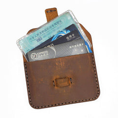 Leather Mens Card Holder Coin Wallet Handmade Leather Card Holder Slim Wallet for Men