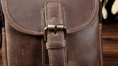 Mens Leather Belt Pouch Waist Bag Cell Phone Holster Small Shoulder Bag For Men
